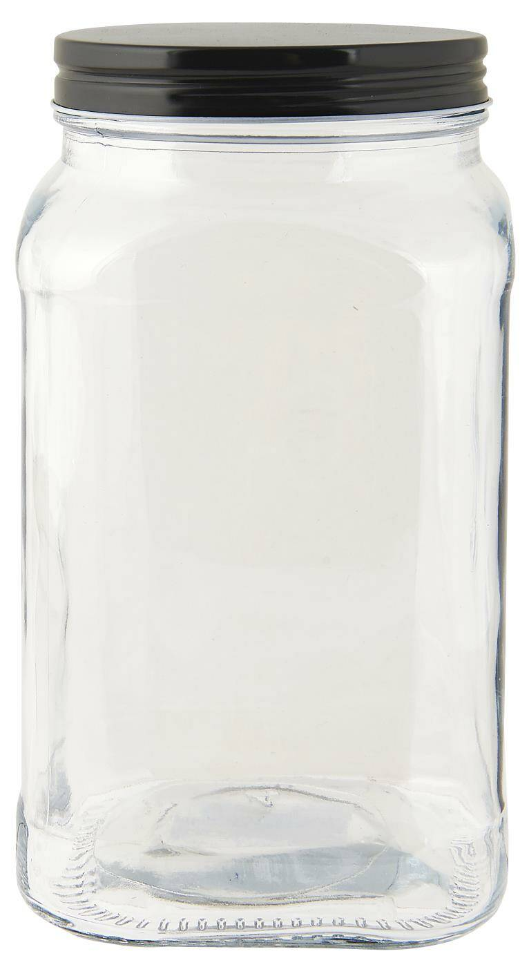 Ib-Laursen Glass jar w/black lid square 1200 ml  0655-24