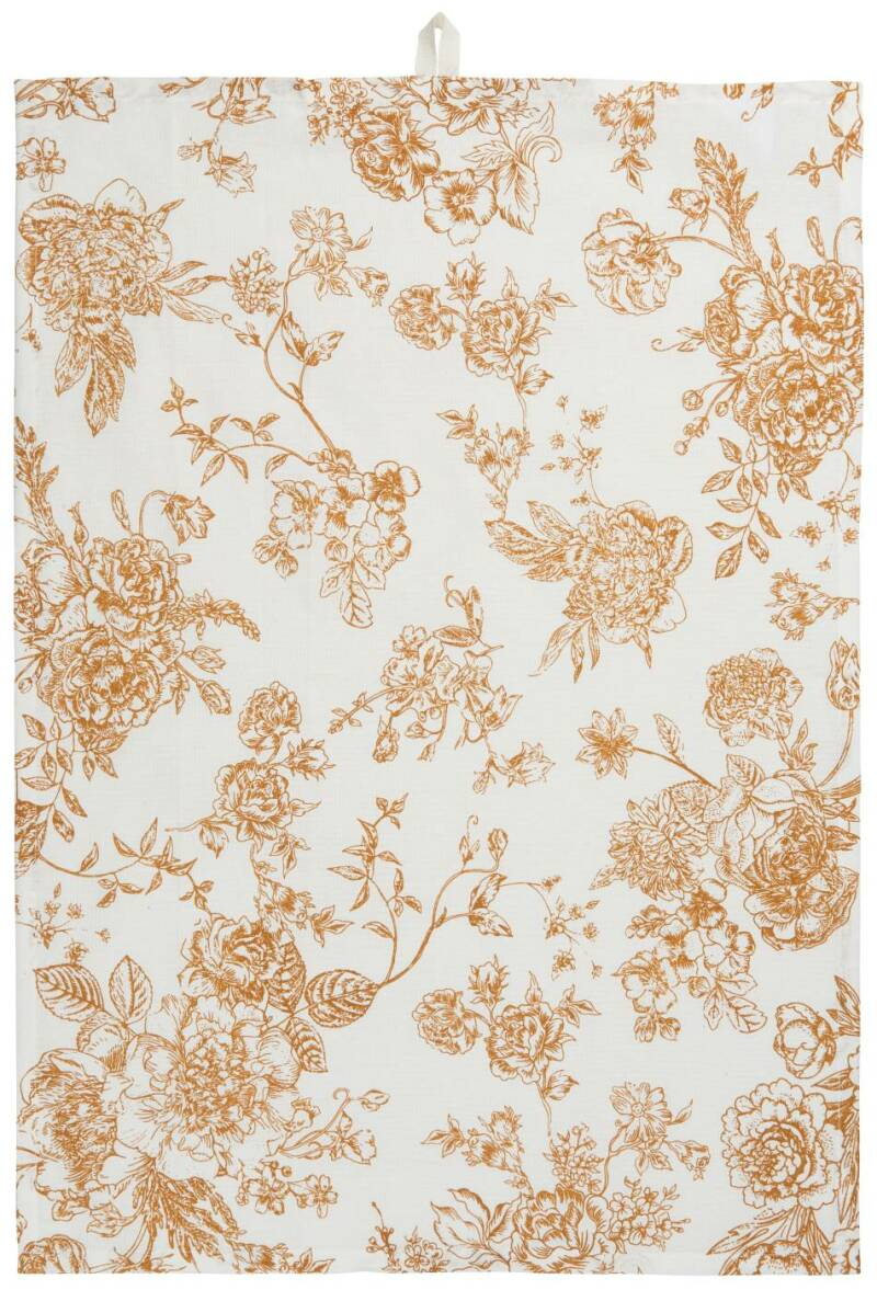 IB-Laursen Tea towel flowers mustard printing   6688-03