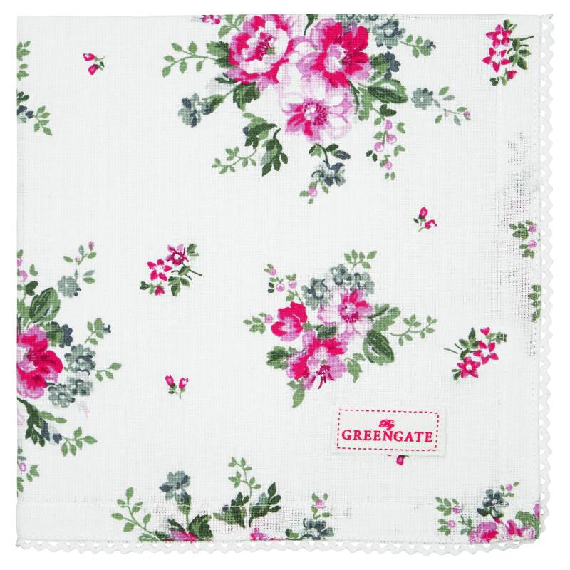 GreenGate Cloth Napkin with Lace Elouise White