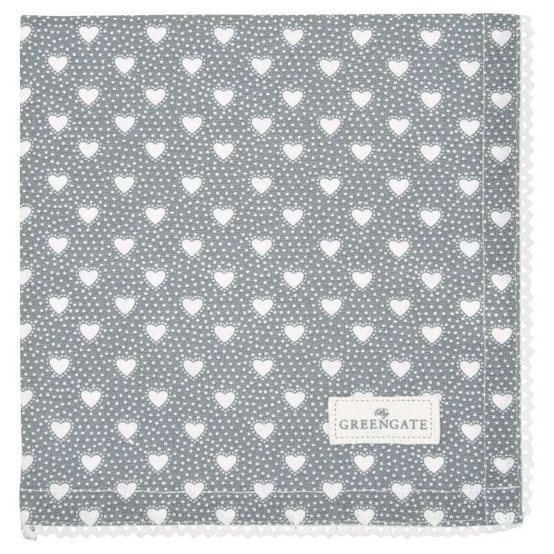 GreenGate Cloth Napkin with Lace Penny Grey