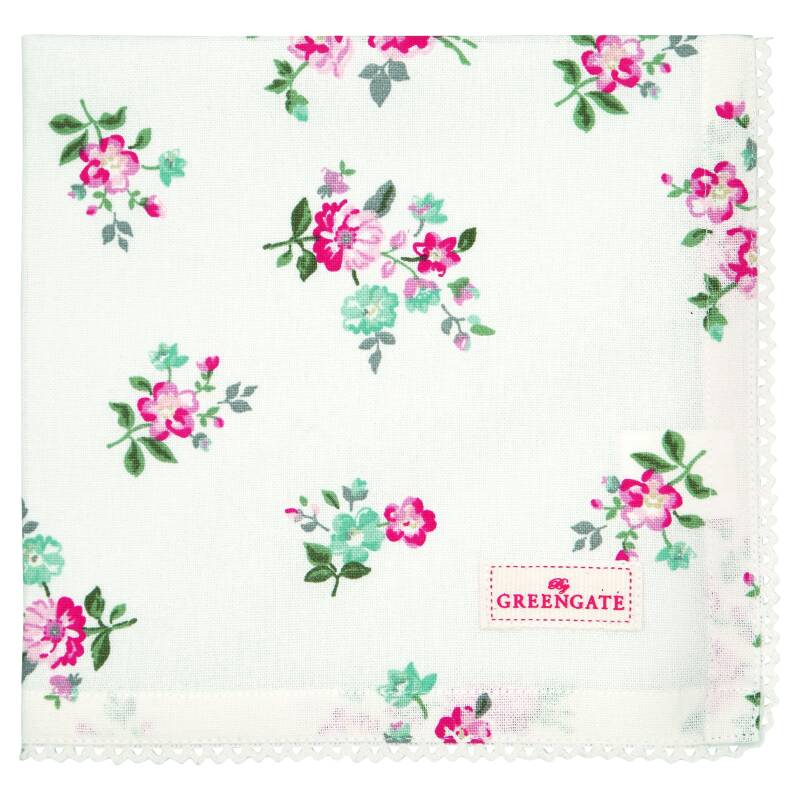 GreenGate Cloth Napkin with Lace Sonia White