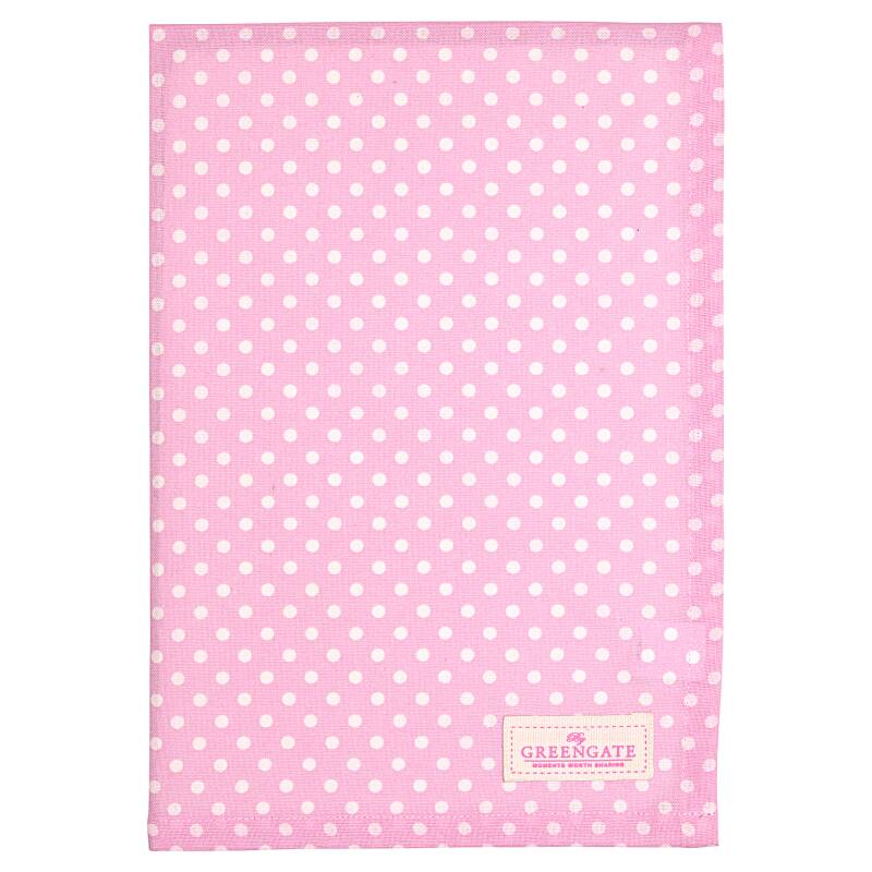 GreenGate Tea Towel Spot Pale Pink