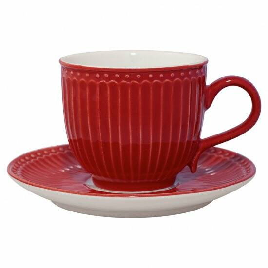 GreenGate Cup with Saucer Alice Red
