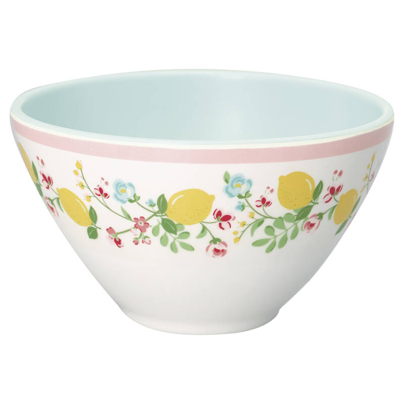 GreenGate Melamine Cereal Bowl Limona White
