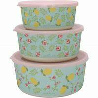GreenGate Round Bamboo Box Limona Pale Blue Set