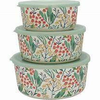 GreenGate Round Bamboo Box Megan White Set of 3