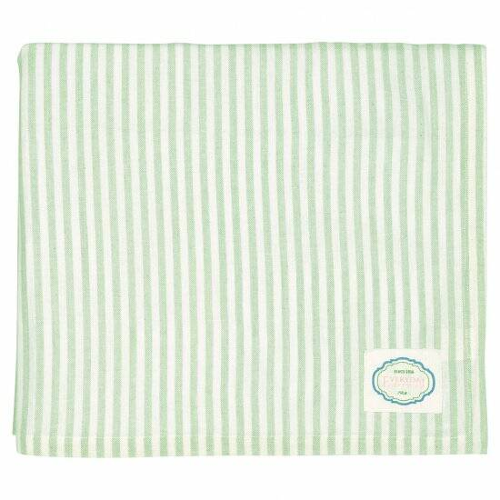 GreenGate Tablecloth Alice Stripe Pale Green 250 x 145 cm
