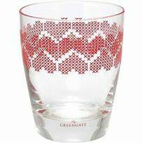 GreenGate Water Glass Heart Red H 9.5 cm