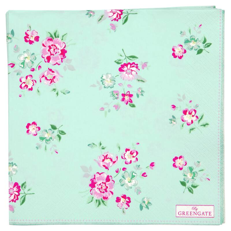 GreenGate Paper Napkins Sonia Pale Blue Large 20 pcs