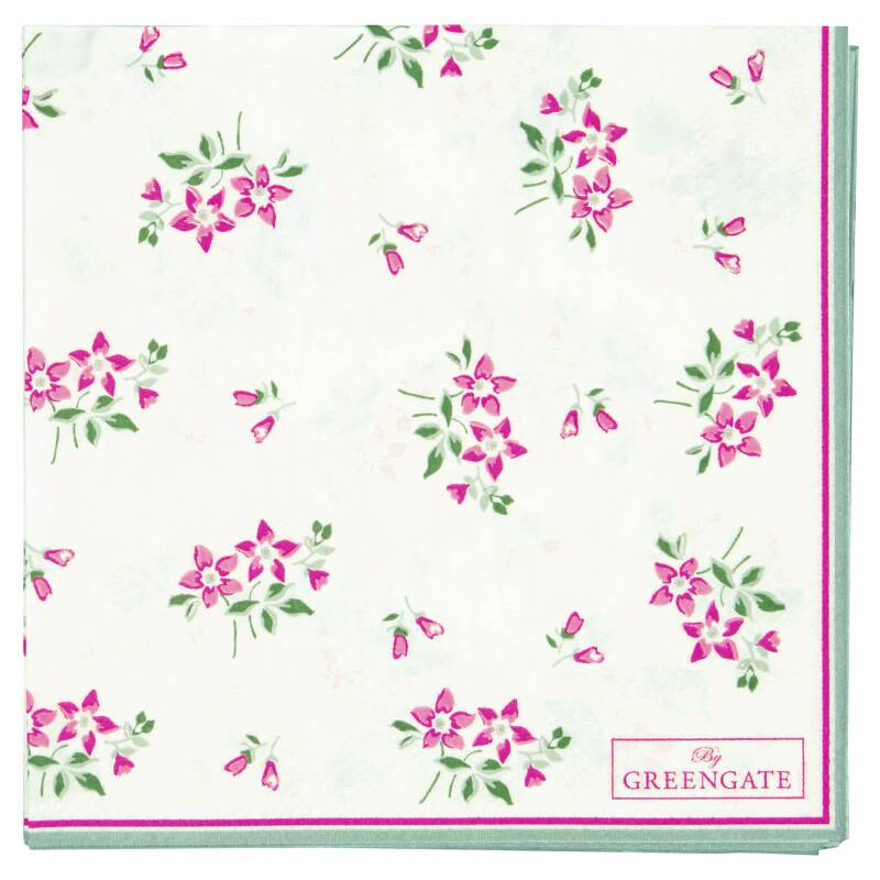 GreenGate Paper Napkins Avery White Small 20 pcs