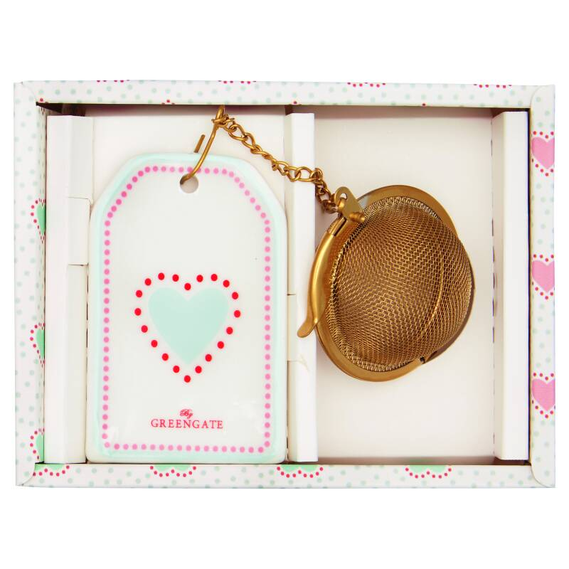 GreenGate Tea Infuser Penny White with Chain