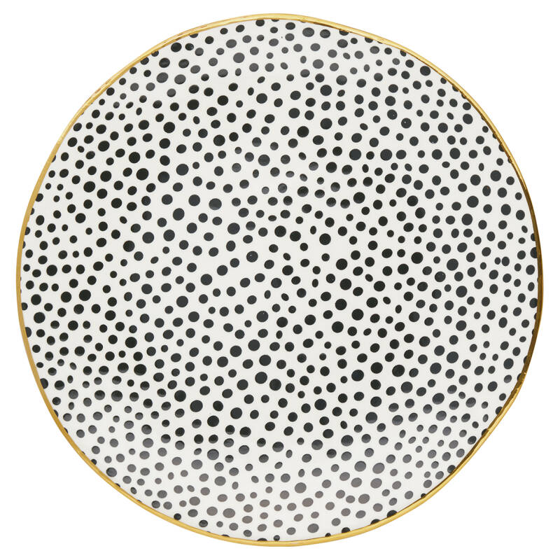 GreenGate Dinner Plate Dot Black with Gold 25 cm