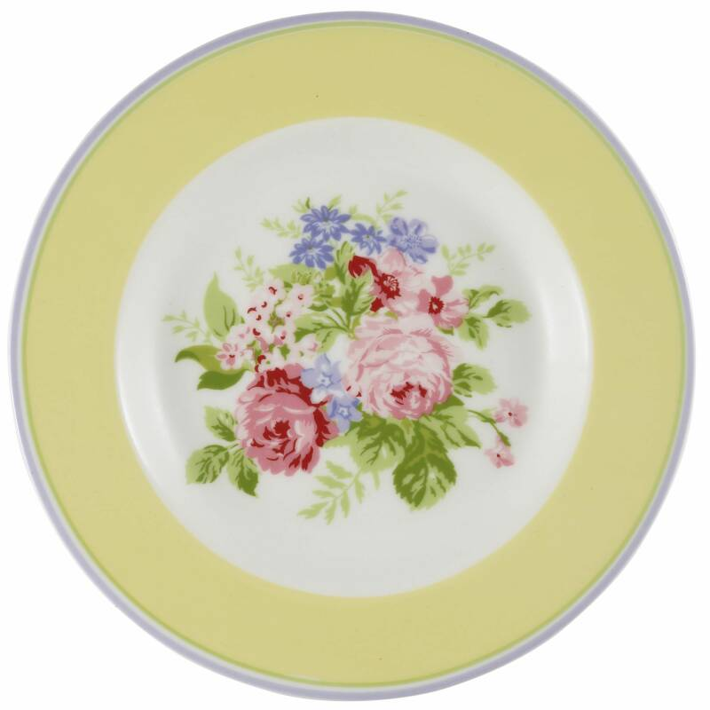 GreenGate Small Plate Rose Pale Yellow