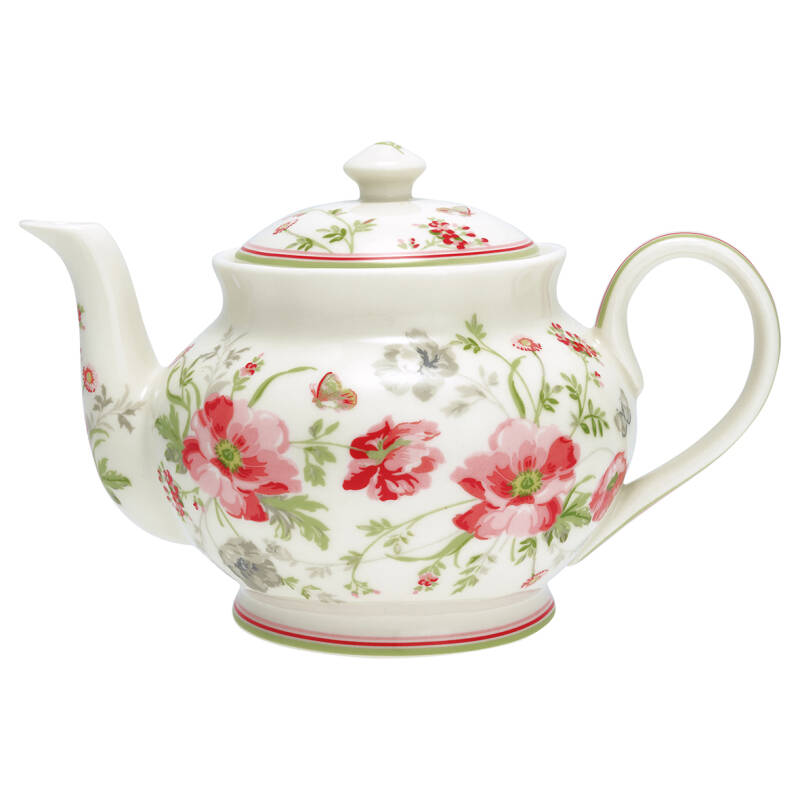 GreenGate Teekanne - Teapot Round Meadow White 1L