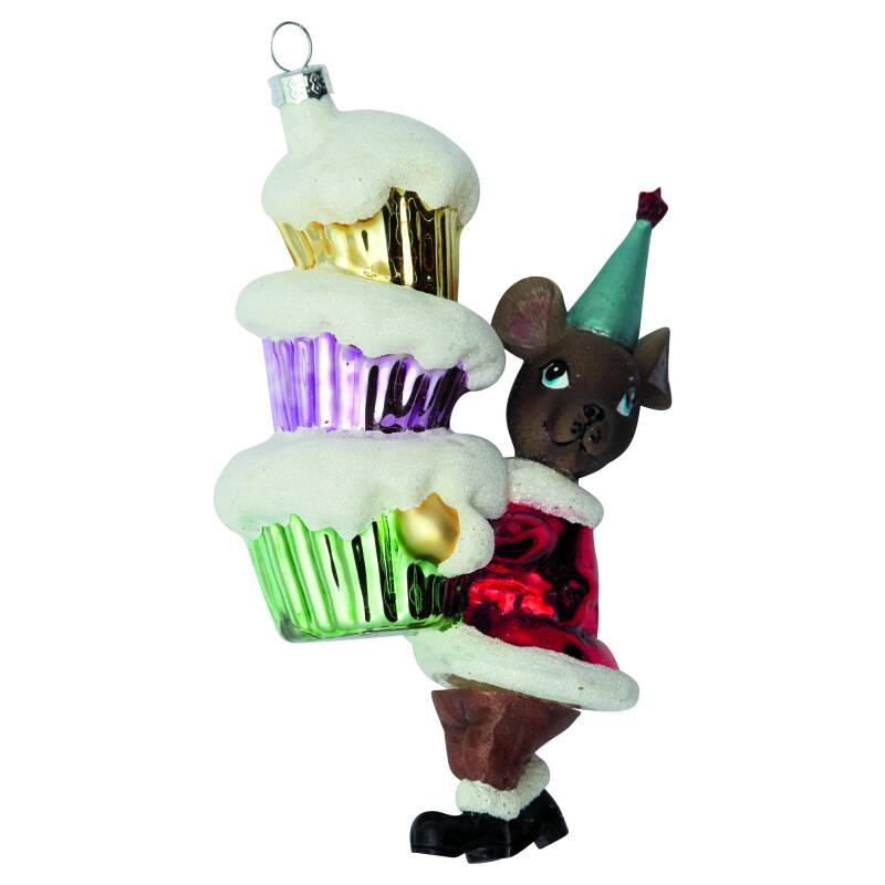 GreenGate Xmas Ornament Glass Mouse Red with Cakes