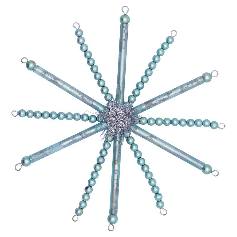 GreenGate Glass Pearl Xmas Ornament Snowflake Pale Blue Large