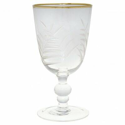 GreeGate Glass Wine clear w/cutting and gold small