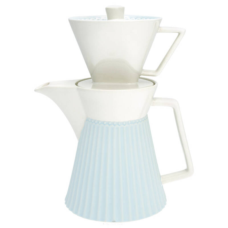 GreenGate Coffee Pot with Filter Alice Pale Blue