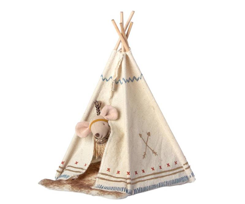 Maileg. Kleine zus muis Little Feather met Tipi tent.