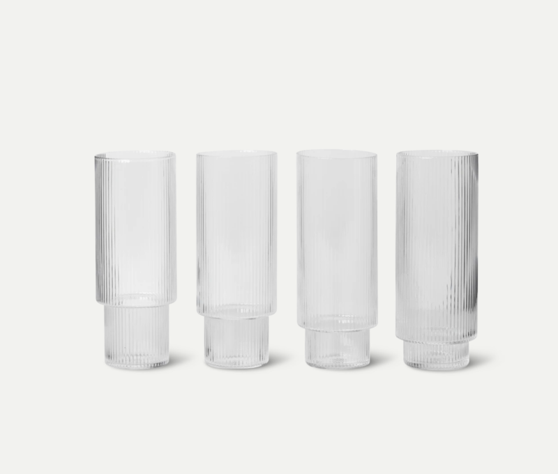 Glazen - Ferm living - Ripple Long Drink Glasses (Set of 4)