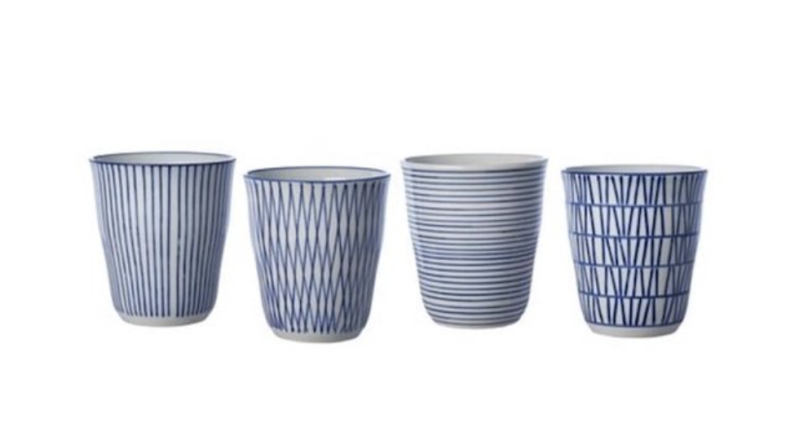 Bekers - Pols potten - Blue striped set 4