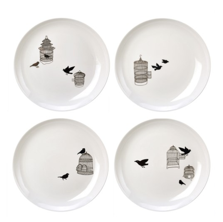 Borden - Pols potten - side plate freedom birds set 4