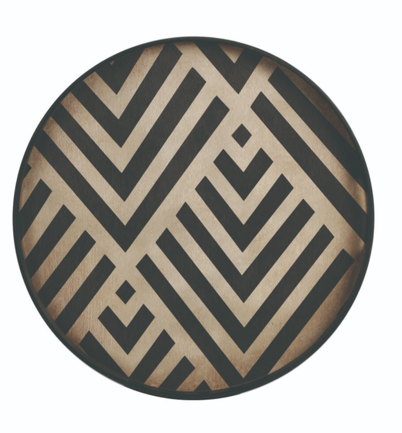 Plateaus - Ethnicraft - Graphite Chevron wooden tray S