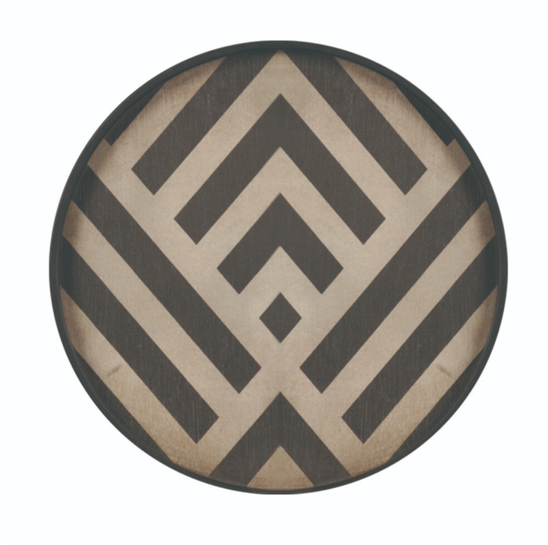 Plateaus / Valet - Ethnicraft - Graphite Chevron wooden valet tray- Mini