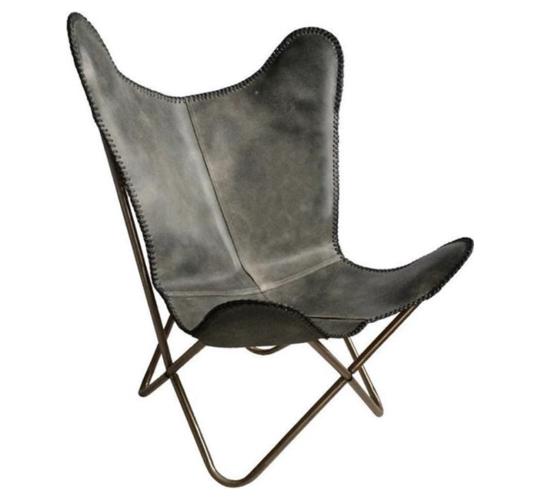 Butterfly chair - Grey leather