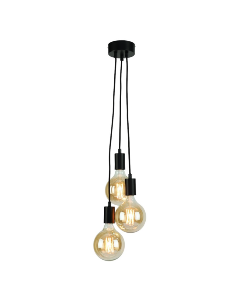 Hanging system Oslo/3 lampen textile wire 150cm black