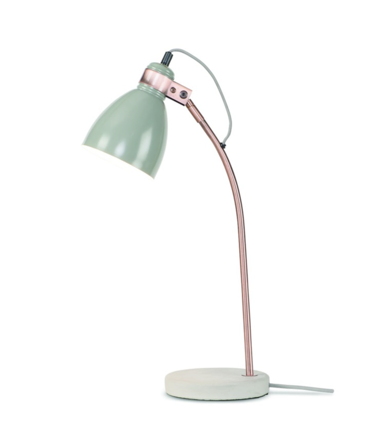 Table lamp iron concrete base/copper tube Denver, l.grey