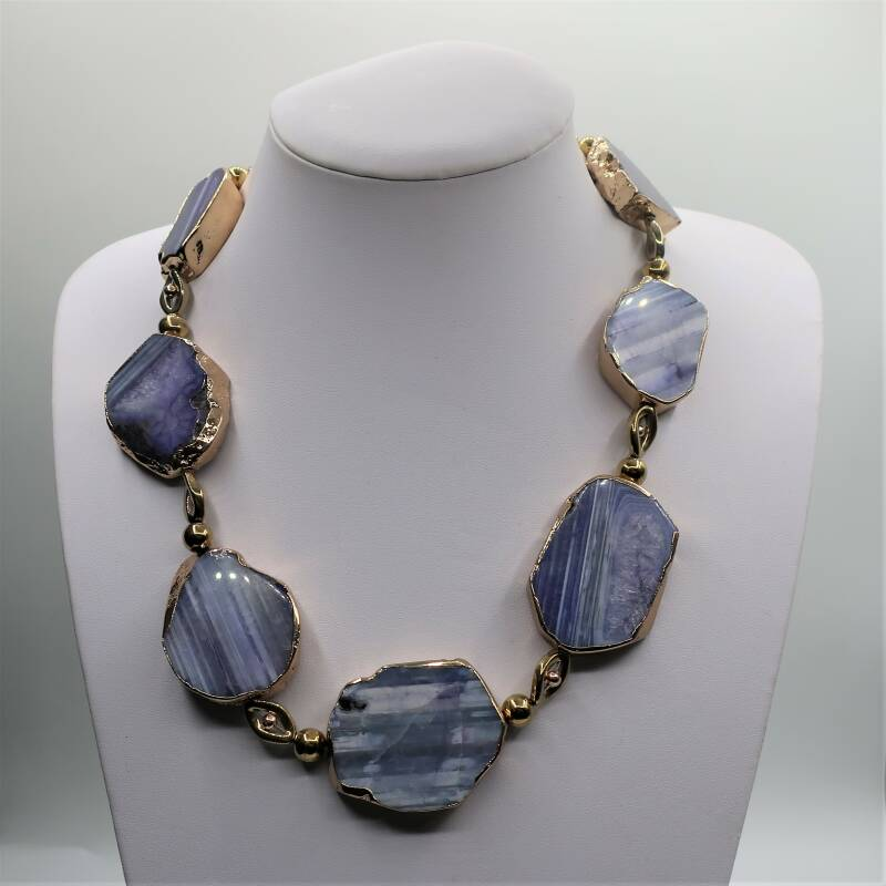 Collier purple goldplated Agaat