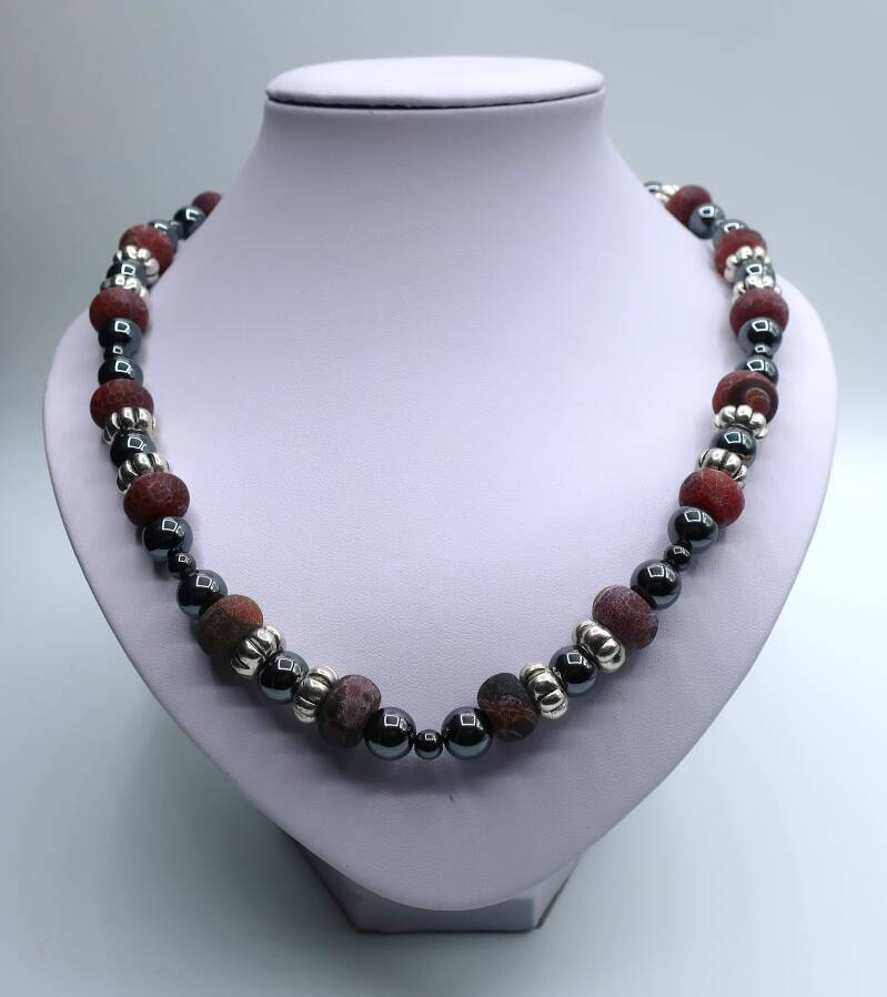 Collier Red Crackle Agate
