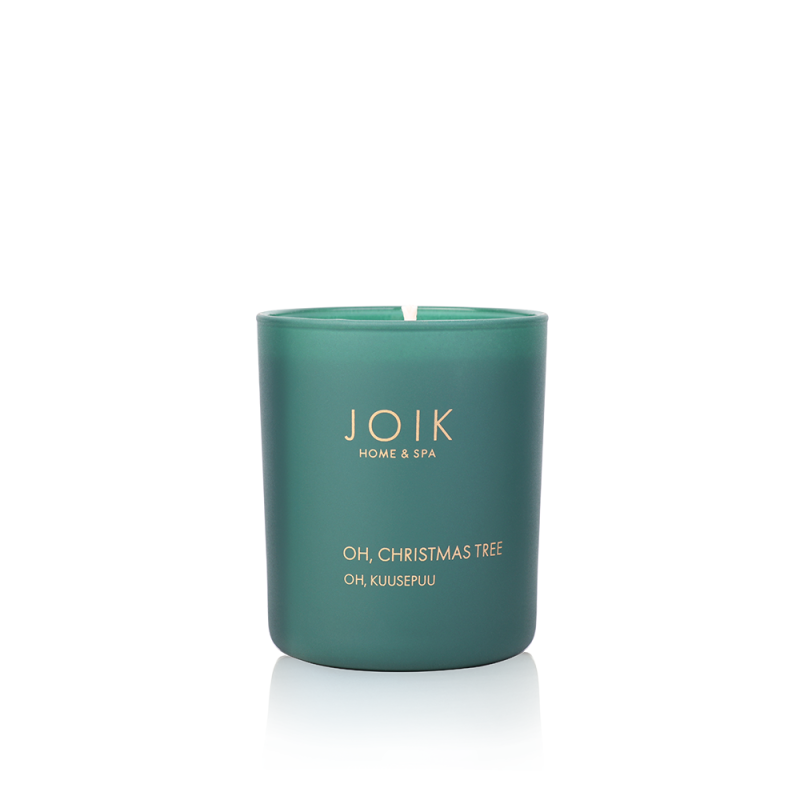 Joik Home & Spa - Vegan Soywax scented candle Oh, Christmas tree, 145 gr. in groen glas