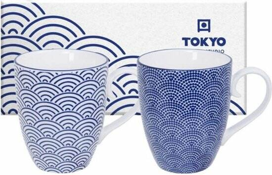 Tokyo Design Studio Nippon Blue Mug Set 2-pcs, 380ml, Wave&Dots, giftbox, 17988