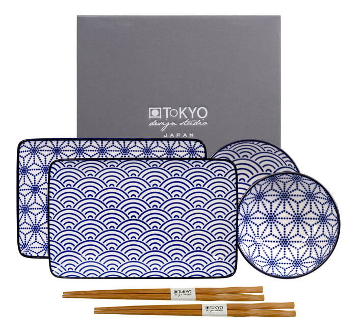 Tokyo Design Studio Nippon Blue Sushi Servies - Porselein - 6 delig - 2 persoons 15330