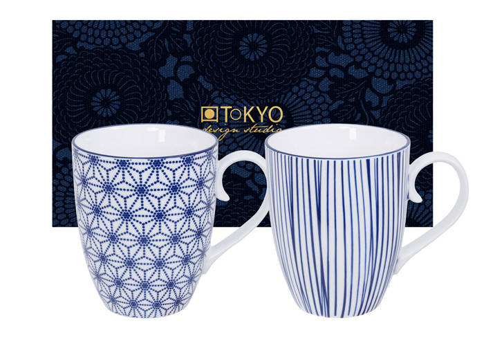 Tokyo Design Studio Nippon Blue Set van 2 Mokken 380 ml. In fraaie Geschenkdoos, Stars & Stripes 15650