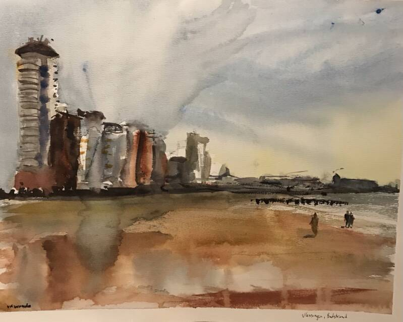 Aquarel Vlissingen, Badstrand