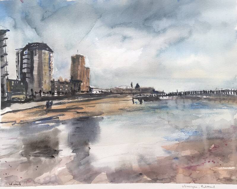 Aquarel Badstrand Vlissingen