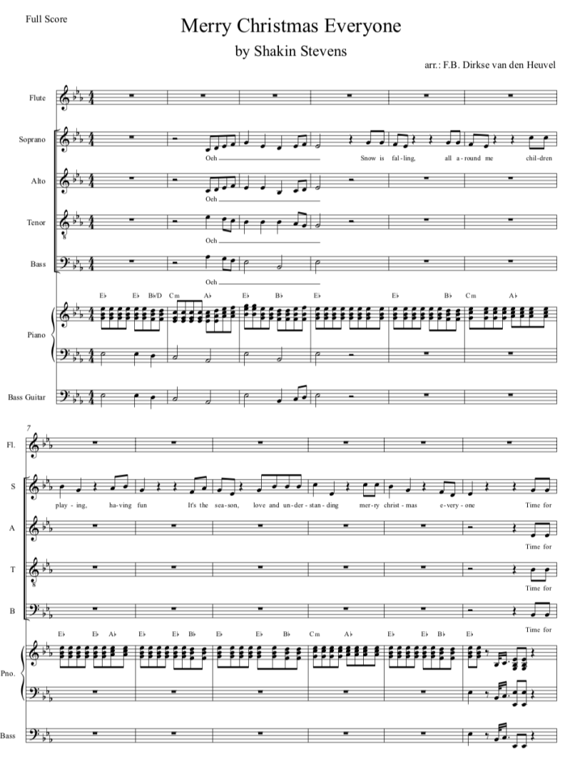 Merry Christmas Everyone - SATB of SSAB