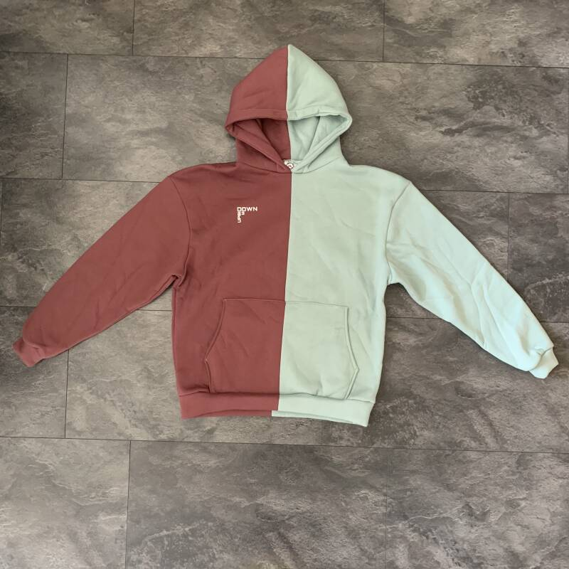 BOTH-SIDED ROSE HOODIE BORDEAUX/MINT BLUE