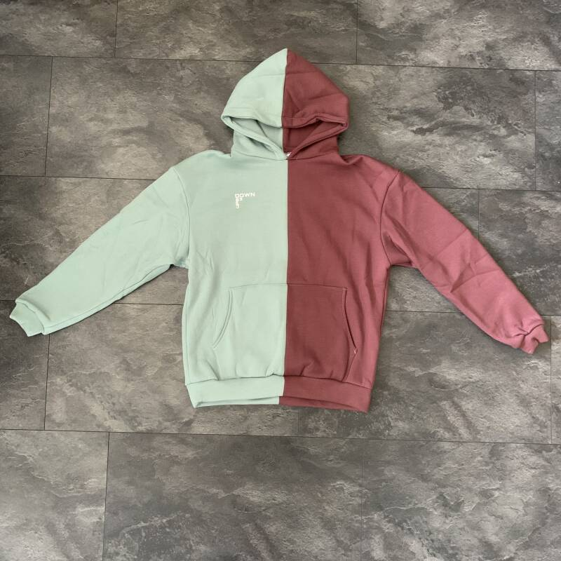 BOTH-SIDED ROSE HOODIE MINT BLUE/BORDEAUX