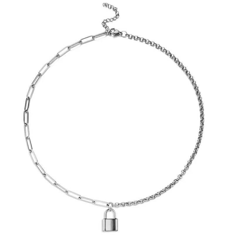 Necklace different chains lock | zilver