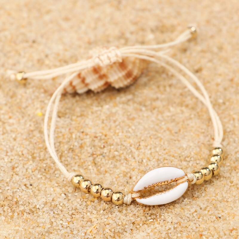Shell anklet | beige gold/white