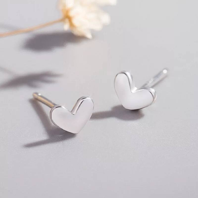 Stud earrings heart | zilver