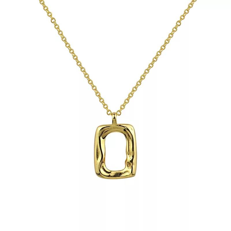 Necklace lined rectangle | goud