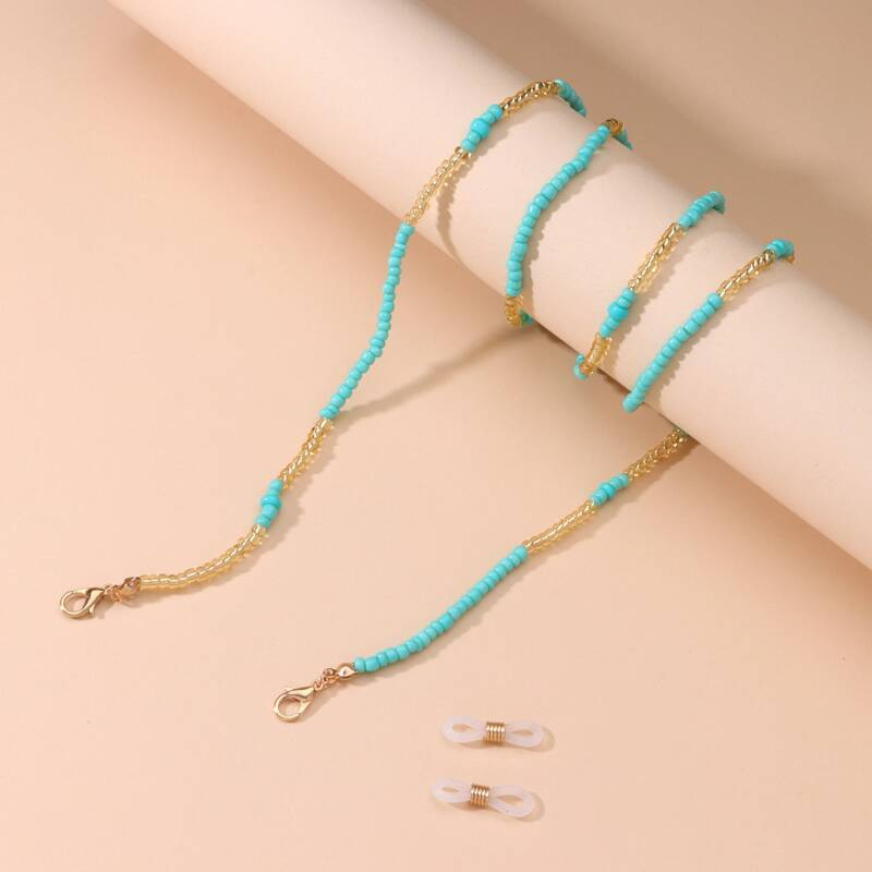 Zonnebril koord beads | turquoise mix
