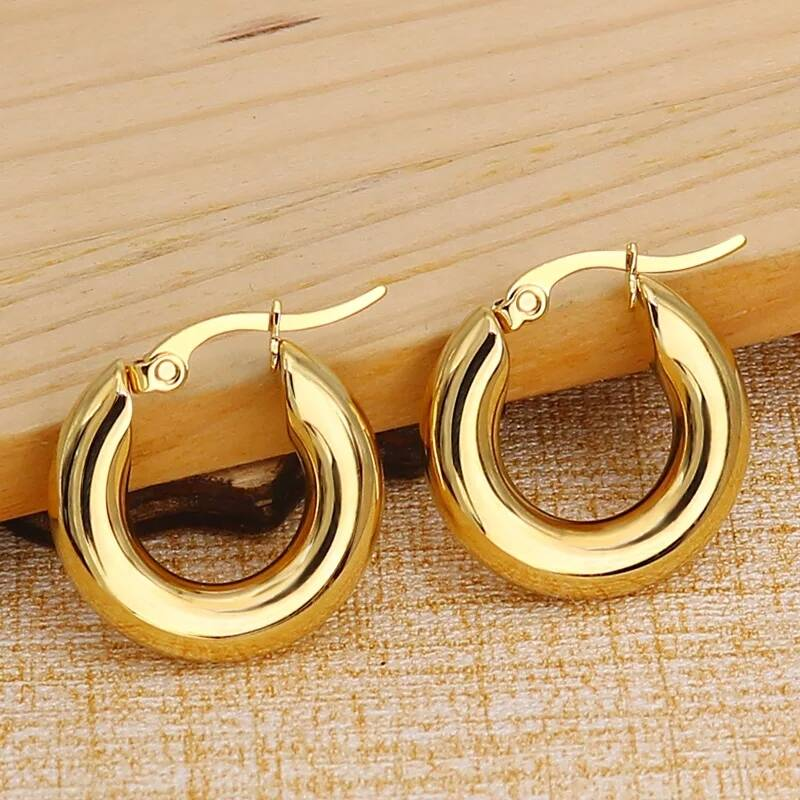 Hoop earrings | plain 20 mm gold