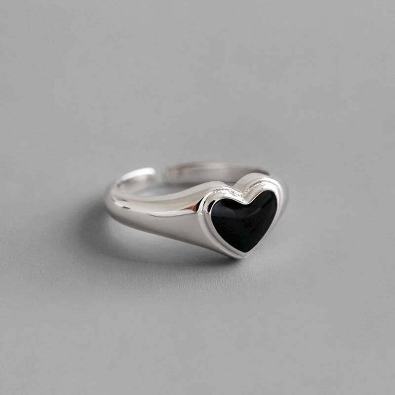 Ring small heart black | 925 zilver