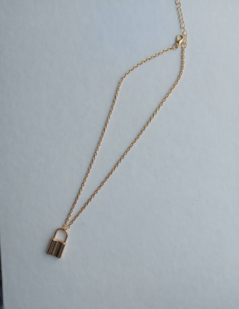 Small chain necklace lock | goud